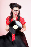 Perno-para arriba de la muchacha del expediente del análogo de Phonography retro Imagen de archivo