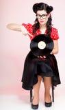 Perno-para arriba de la muchacha del expediente del análogo de Phonography retro Foto de archivo libre de regalías