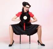Perno-para arriba de la muchacha del expediente del análogo de Phonography retro Fotografía de archivo libre de regalías