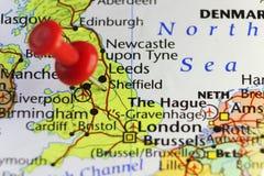Perno rosso su Sheffield, Inghilterra, Regno Unito immagine stock libera da diritti