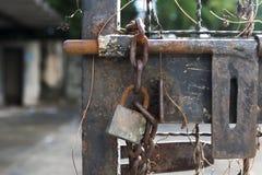 Perno y cadena viejos de puerta con la cerradura Fotografía de archivo libre de regalías