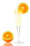 Pernod Fizz alcohol cocktail. Isolated on white background. Ingredients: 3 oz pernod, 7 oz champagne, orange slice Royalty Free Stock Photos