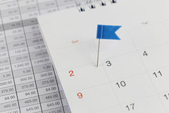 Pernos azules a los gatos monteses en el calendario al lado del número de dos i imagen de archivo libre de regalías