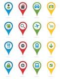 Pernos del mapa con los iconos Imagen de archivo