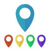 Pernos del mapa, iconos planos de los indicadores Fotos de archivo libres de regalías