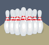 Pernos del vector Ilustración realista bowling Imagen de archivo libre de regalías