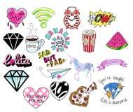 Pernos o remiendos, sellos, iconos, etiquetas engomadas Rueda dentada Diamond Shapes, corazones, textos, unicornio, reloj ilustración del vector