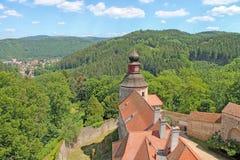 pernstejn замока взгляд городка республики cesky чехословакского krumlov средневековый старый Стоковое Изображение RF