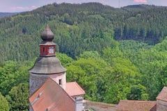 pernstejn замока взгляд городка республики cesky чехословакского krumlov средневековый старый Стоковая Фотография