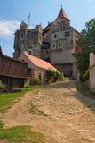 Pernstejn Castle is a castle on a rock above the village of Nedvedice, South Moravian Region, Czech Republic.  Stock Photo