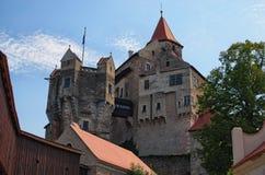 Pernstejn Castle is a castle on a rock above the village of Nedvedice, South Moravian Region, Czech Republic.  Royalty Free Stock Image