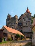Pernstejn Castle is a castle on a rock above the village of Nedvedice, South Moravian Region, Czech Republic.  Royalty Free Stock Photos