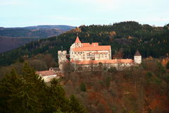 Pernstejn. Castle visible from hill close to them Royalty Free Stock Photography