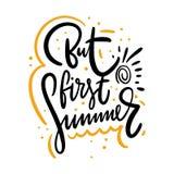 Pero letras exhaustas del vector de la primera mano del verano Aislado en el fondo blanco ilustración del vector