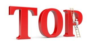 Perosn climb on TOP word Royalty Free Stock Photos