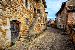 Perouges, a medieval old town near Lyon, France. Perouges, a medieval walled old town near Lyon, France, one of the most beautiful villages of France Les plus royalty free stock photo