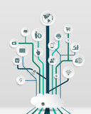 Perper could computing.social media icons. Could computing.social media background with lines, circles and icons. Growth tree concept with network, computer vector illustration
