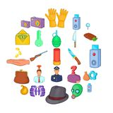 Perpetration icons set, cartoon style. Perpetration icons set. Cartoon set of 25 perpetration vector icons for web isolated on white background Stock Image
