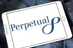 Perpetual Limited logo. Logo of Perpetual Limited on samsung tablet. Perpetual is an Australian investment and trustee group; providing investment products stock images