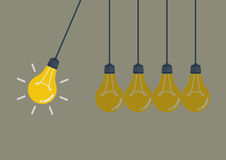 Perpetual motion with light bulbs stock illustration