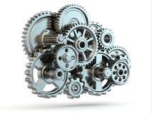 Perpetuum机动性。在白色被隔绝的背景的铁齿轮。 库存图片