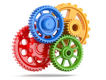 Perpetuum mobile. Color gears on white isolated background. Royalty Free Stock Image