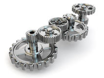 Perpetuum mobile. Iron gears on white  background. Stock Image