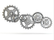 Perpetuum mobile. Iron gears on white  background. Stock Photo