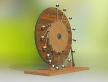 Perpetuum mobile. Leonardo da Vinci`s perpetual motion machine. Leonardo da Vinci`s perpetual motion machine. 3D illustration on a colorful background stock photos