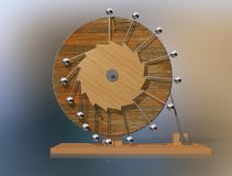 Perpetuum mobile. Leonardo da Vinci`s perpetual motion machine. stock photography