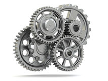 Perpetuum mobile. Metal gears on white isolated background. Royalty Free Stock Photography