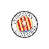 Perpignan city stamp Royalty Free Stock Image