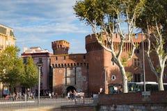 Perpignan, France city centre Castillet keep castle Royalty Free Stock Photos