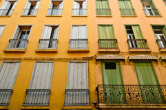 Perpignan -France. Cityscape of Perpignan France -detail of old houses and their windows Royalty Free Stock Image
