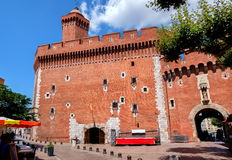 Perpignan, France. El Castellet Tower and the rest of middle age town wall in Perpignan, France Royalty Free Stock Images
