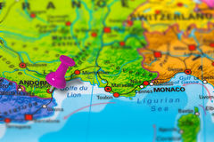 Perpignan France map. Perpignan in France pinned on colorful political map of Europe. Geopolitical school atlas. Tilt shift effect stock photography