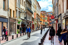 Perpignan main commercial street in the old town. France stock images