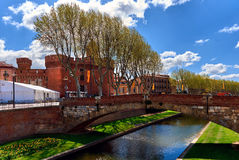 Perpignan in springtime. View to the Canal and Castle of Perpignan in springtime. Pyrenees-Orientales, France Stock Photos