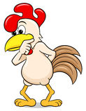 Perplexed cartoon chicken Stock Images