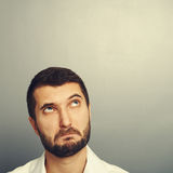 Perplexed man looking at copyspace Royalty Free Stock Photography