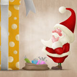 Perplexed Santa and big gift Stock Images