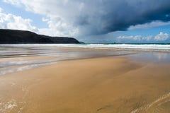Perranporth Beach Cornwall. Dramatic sky over Perranporth Beach Cornwall England UK Europe royalty free stock photo
