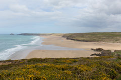 Perranporth beach North Cornwall England UK. Perranporth beach and coast North Cornwall England UK one of the best Cornish beaches with yellow gorse stock photos