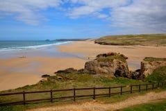 Perranporth beach North Cornwall England UK HDR Stock Photo