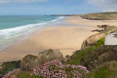Perranporth beach North Cornwall England UK Royalty Free Stock Photos