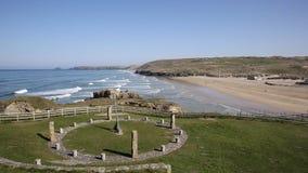Perranporth Cornwall piękna Kornwalijska plaża znać dla surfować zbiory wideo