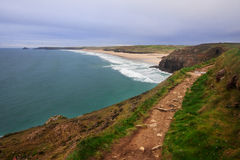 Perranporth Cornwall södra England royaltyfri fotografi