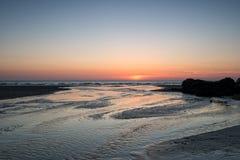 Perranporth på solnedgången Arkivfoto