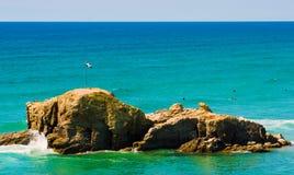 Perranporth-Strand in Cornwall Großbritannien lizenzfreie stockbilder