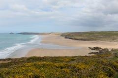 Perranporth strand norr Cornwall England UK arkivfoton
